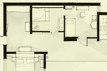 Black And White Watercolor Illustrative Material, Showing Condo Apartment  Flat Partial Floor Plan, Suitable