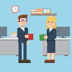 break, male and female characters in the office
