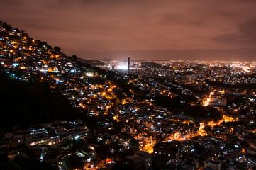 Rio de Janeiro Slums on the Hill at Night