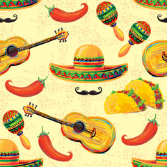 Mexican seamless music pattern with sombrero hat, mustache, maracas, taco and chill pepper vector background. Perfect for wallpapers, pattern fills, web page backgrounds, surface textures, textile