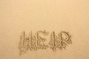 "The inscription on the sand beach ""Help"""