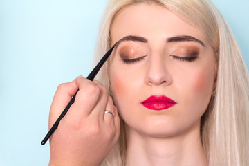 Makeup artist paints a woman eyebrows. Makeup. Beauty concept