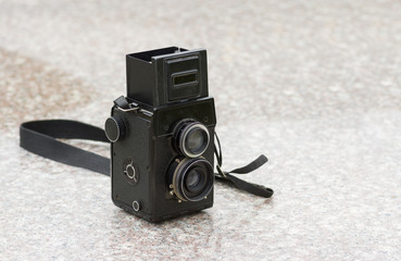 Old medium format photo camera closeup