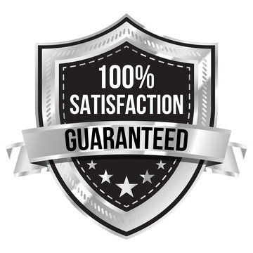 Chrome 100% Satisfaction Guaranteed Shield and Ribbon
