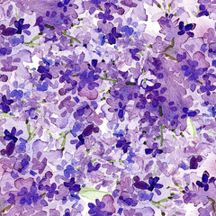 Liliac  watercolor seamless pattern