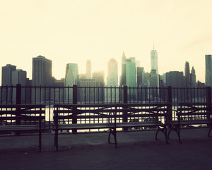Benches in Brooklyn Heights and Manhattan Skyline