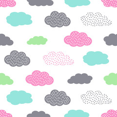 Colorful seamless pattern with clouds for kids holidays. Cute baby shower vector background. Child drawing style illustration.