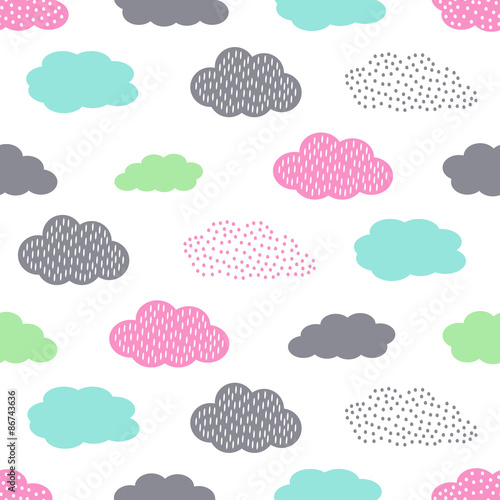 Colorful seamless pattern with clouds for kids holidays - Papel decorativo infantil ...