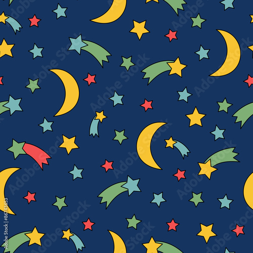 seamless night sky pattern comic background with stars comet moon rh fotolia com night sky vector wallpaper night sky vector art