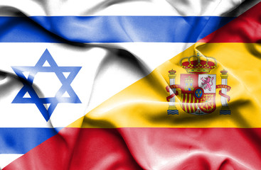 Waving flag of Spain and Israel