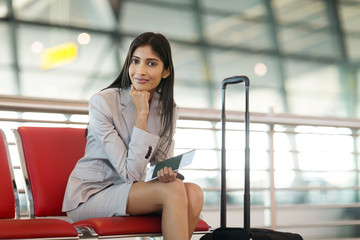 indian businesswoman waiting at airport