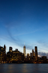 Manhattan skyline in dusk