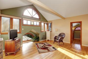 Vintage loft style bedroom with tv and hardwood floor.