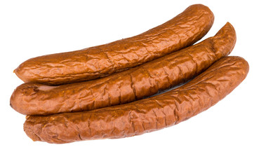 Long smoked sausage isolated on white