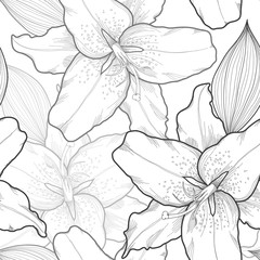 beautiful seamless black-and-white background with lilies, hand-drawn.