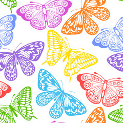 Beautiful seamless background of butterflies multi colored on a white.