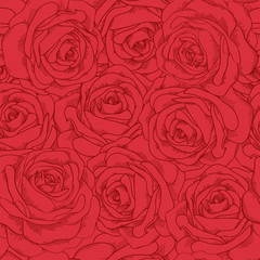seamless pattern of red roses in vintage style.