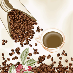 Cup of coffee and coffee seeds background