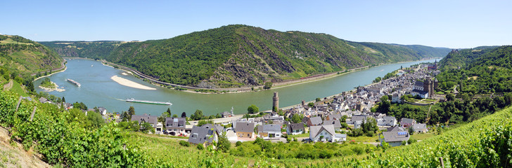 Rhine River in Germany at the City Oberwesel - Panorama View Fototapete