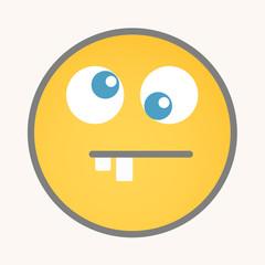 Crossed Eyes - Cartoon Smiley Vector Face