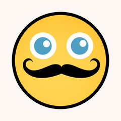 Moustache - Cartoon Smiley Vector Face