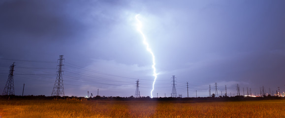 Electrical Storm Thunderstorm Lightning Power Lines Texas