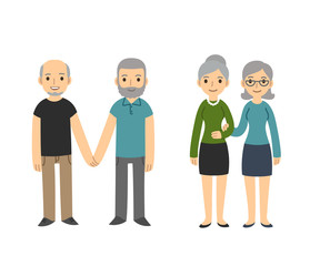 Two happy senior gay couples isolated on white background. Older men and women in casual clothes holding hands. Simple and cute cartoon style.