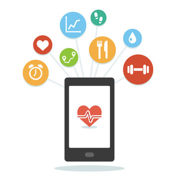 Health monitoring smartphone app with various wellness icons. Simple and modern flat vector style.