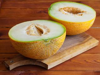 Two halves of a melon