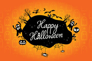 happy halloween text design background