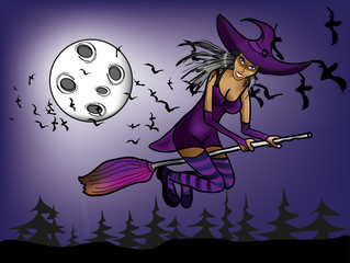 halloween witch flying at night on the background of moon