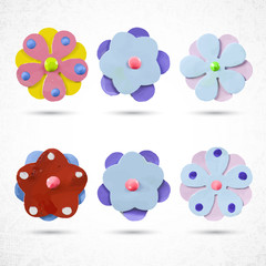 Set of beautiful colorful flowers. Vector illustration.