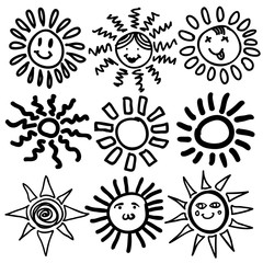 Sun icon. Vector illustration. Doodle.