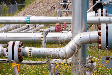 Outdoor piping system in the sun