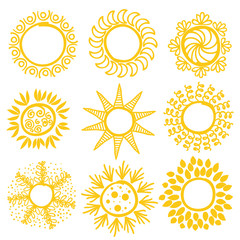 Set of Hand-drawn sun