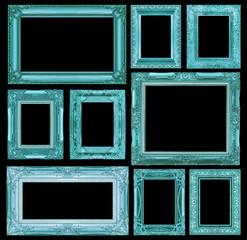 Set of blue vintage frame isolated on black background