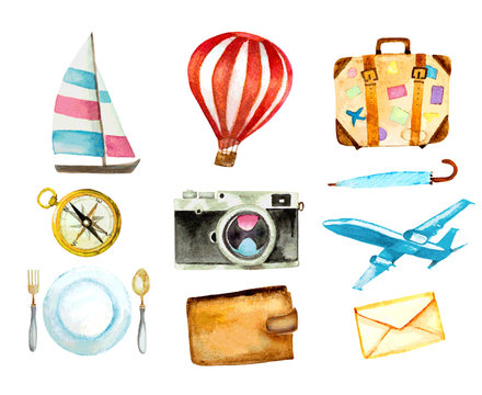 set of tourism icons. watercolor hand drawn vectorized illustration.
