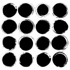 Set of Big black grunge silhouette circle on white background. Zen