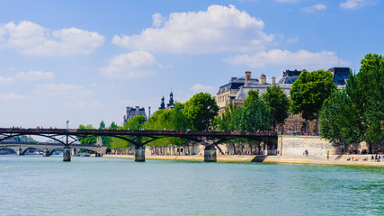 Pont des Arts or Passerelle des Arts, a pedestrian bridge in Paris which crosses the Seine River.