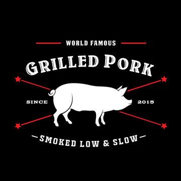 Vintage Retro Grilled Pork Smoked Low & Slow Seal Logo