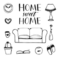 hand drawn vector home interior doodles: couch, lamp, clock