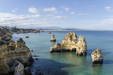 Lagos rocks and Atlantic Ocean view  in Algarve, Portugal