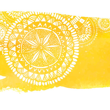 Yellow watercolor paint background with white hand drawn round