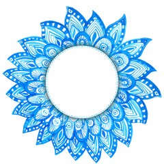 round frame with hand drawn watercolor doodles. blue tribal