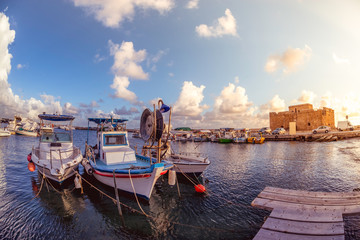 Fotobehang Cyprus Boats at Paphos harbor with the castle on the background. Cyprus