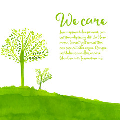Green eco background with hand painted trees, grass and text we
