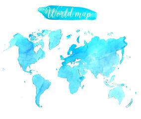 Blue watercolor world map. Vector artistic illustration.