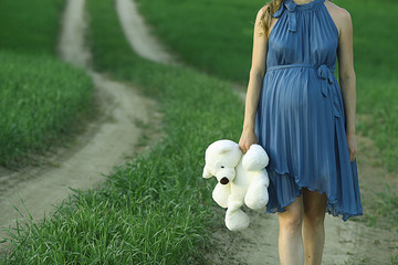 pregnant woman with a teddy bear on the nature