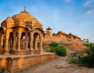 Keuken foto achterwand India The royal cenotaphs Bada Bagh in Jaisalmer, India