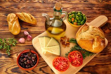 Mediterranean food bread oil olives cheese